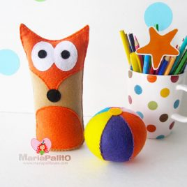 Fox Baby Toy Pattern, Felt Fox Baby + Ball Toy Pattern A1169