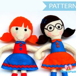 2 Doll Pattern, Felt Rag Doll Sewing Pattern, Two Doll Pattern Pack A1089