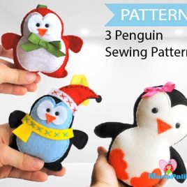 3 Penguin Patterns, Felt Christmas Penguin,Christmas Patterns, Pattern Bundle,  Pdf Sewing Pattern, A1086