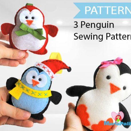 3 Penguin Patterns, Felt Christmas Penguin,Christmas Patterns, Pattern Bundle,  Pdf Sewing Pattern, A1086