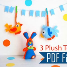 3 TOY sewing Patterns Pack - Cute Bunny - Modern Bird - Round Funny Bird -A503 PDF Sewing pattern