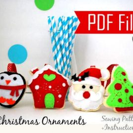 4 Christmas Ornaments Patterns, Pdf Sewing Pattern Set, Snowman, Gingerbread House, Happy Star, Christmas Tree- Kit B Instant Download A867