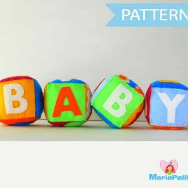 Baby Cubes Pattern, Baby Toy Sewing Patter, Felt Baby Cubes, Toy Pattern A1087