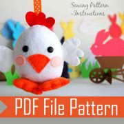 Chick Pattern, Chicken Sewing Pattern,  Pdf Sewing Pattern,  Farm Animal Plush, Easy Sewing Project ,  Felt Hen Pattern  A572