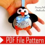 Christmas Penguin Pattern, Penguin Christmas Ornament , Felt Penguin Pattern,Pdf Sewing Pattern , Instant Download A804