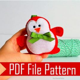 Christmas Penguin Pattern,  Penguin Christmas Ornament, Sewing Pattern Pdf Sewing Pattern A509