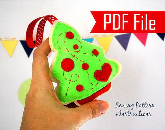 Christmas Tree Pattern, Felt Tree Ornament,Sewing Pattern - Pdf Pattern , Christmas Ornament Pattern, Cookie Pattern, Instant Download A875