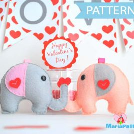 Elephant Sewing Pattern, Felt Elephant Pattern, Party Favor Pattern, Baby shower felt toy A490 PDF Sewing pattern