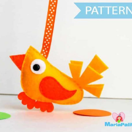 Felt Bird Pattern, Bird Sewing Pattern, Instant download , Felt Modern Bird Sewing pattern A502
