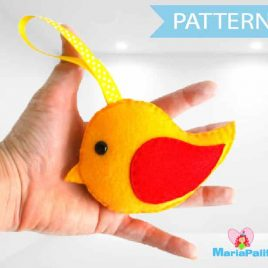 Felt Bird Pattern, Stuffed Bird Pattern, Felt Bird Pattern Toy, Felt Bird Toy, Sewing Pattern, Pdf Digital Pattern,  Instant Download A729