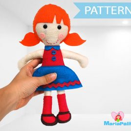 Felt Doll Pattern, Tiffany Rag Doll Pattern, Felt Sewing Pattern A799