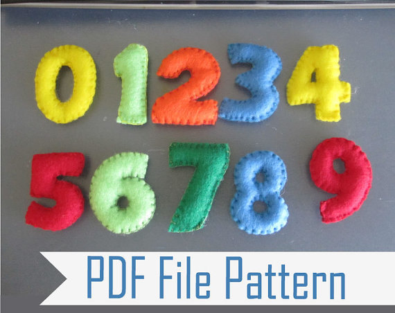 Felt Numbers Pattern, Learning Numbers Sewing Pattern  From 1 To 9 Pdf Sewing Pattern, Make Your Own Felt Numbers A807