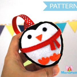 Felt Penguin Pattern, Christmas Penguin Pattern, Baby Penguin, Christmas Ornament, Pdf Pattern, Cookie Sewing Pattern, Instant Download A881