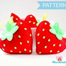 Felt Strawberry Pattern, Felt Food Pattern, Plush Kids Craft Project, Pdf Pattern, Sewing Pattern, Instant Download A869