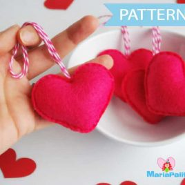 Heart Pattern, Christmas Ornament, Wedding Ornaments Sewing pattern, PDF Sewing pattern A496