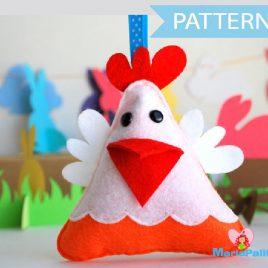 Hen Pattern, Hen Sewing Pattern,  Pdf Sewing Pattern,  Farm Animal Plush, Easy Sewing Project ,Easter Hen Pattern,  Felt Hen Pattern, A571