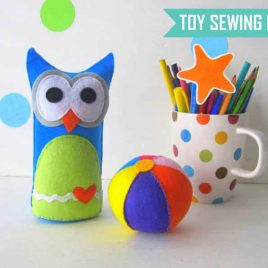 Owl Baby Toy Pattern, Felt Owl Baby + Ball Toy Pattern,  Instant Download A1170
