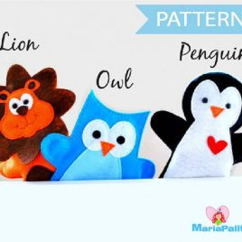 PDF Sewing Pattern for Lion, Owl and Penguin Hand puppet A510 PDF Sewing pattern