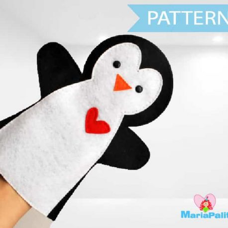 Penguin Hand Puppet Pattern, Penguin Pattern, Hand Puppet Toy, Felt Penguin, Hand Sewing Pattern,  Pdf Sewing Pattern  A511