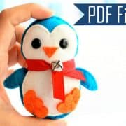 Penguin Pattern, Felt Penguin Christmas Ornament,  Felt Christmas Ornament Pattern,  Instant Download A656