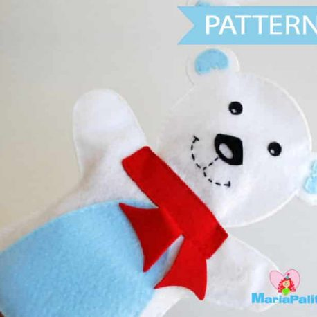 Polar Bear Hand Puppet Pattern, Sewing Pattern, Pdf Pattern, Handpuppet Toy, Felt Penguin, Hand Sewing Pattern,  Pdf Sewing Pattern  A512