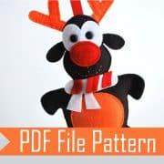 Reindeer Pattern, Christmas Reindeers Pattern ,Felt Christmas Reindeer pattern A319 PDF Sewing pattern