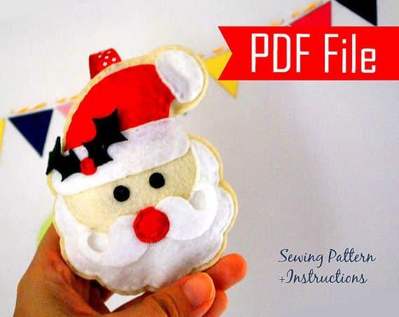 Santa Pattern,Santa Claus Ornament , Christmas Ornament, Sewing Pattern , Pdf Pattern , Christmas Ornament, Instant Download A871