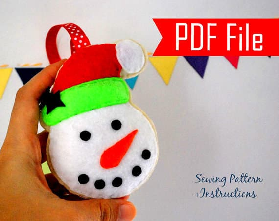 Snowman Pattern, Snowman Christmas Ornament, Felt Snowman Ornament,  Pdf Pattern , Felt Ornament Pattern , Kids Craft Project  A872