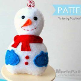 Snowman Pattern, Snowman Sewing Pattern, Snowman Chrstmas Ornament, Felt Snowman Pattern, Pdf Pattern, Felt Christmas Ornament A773