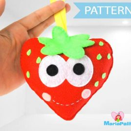 Strawberry Toy Pattern, Strawberry Sewing Pattern, Felt Baby Toy, Food Pattern, Pdf Digital Pattern, Instant Download A798