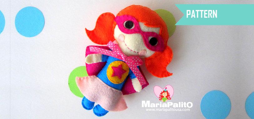 Superhero Pattern, Felt Super Girl Doll pattern A1172